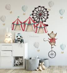 Kids Watercolor Circus Amusement Park With Little Hot Air Balloon Wall Decal Sticker Wall Decals Wallmur