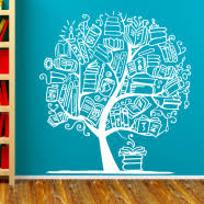 School Library Wall Decals Stickers Reading Quotes Book Simple Stencils