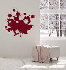 Vinyl Wall Decal Maple Leaves Canadian Art Canada Room Decoration Inte Wallstickers4you