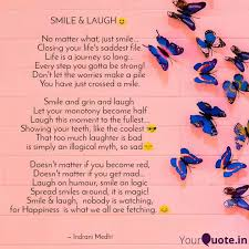 smile laugh☺ no matte quotes writings by indrani medhi