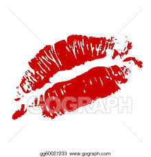 red kiss lips vector clipart