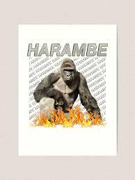 Harambe Art Print By Grandshabby Redbubble