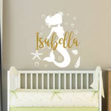 Mermaid Name Wall Decal Personalized Girl Name Sticker Baby Nursery Decor F27 Ebay