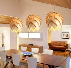 pine cone wooden pendant light nordic