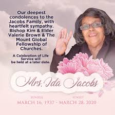 "Mount Leads on Twitter: ""It is with somber hearts we say farewell but with  rejoicing spirits we embrace your transition to Heaven. Please keep the  family of Mrs. Ida Jacobs and The"
