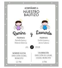 Invitacion Bautizo Hermanos Invitaciones Bautizo Tarjetas De