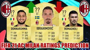 FIFA 21   AC MILAN RATINGS PREDICTION   FT. IBRAHIMOVIC, DONNARUMMA,  ROMAGNOLI... - YouTube