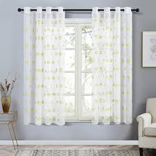 Topfinel Short Sheer Curtains For Living Room Bedroom Child Kids Room Embroidered Football Tulle Window Treatment Drapes Curtains Aliexpress