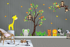 Gender Neutral Baby Decals Tree Wall Decals Jungle Wall Stickers Sa Nurserydecals4you