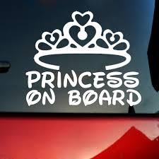 Fashion Princess On Board Baby Child Window Bumper Car Sign Decal Sticker Wish