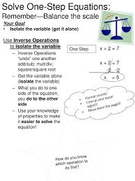 ppt solve one step equations