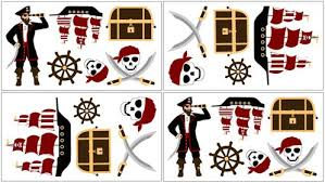 Treasure Cove Pirate Baby And Kids Wall Decal Stickers Set Of 4 Sheets Only 24 99