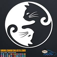 Cat Yin Yang Vinyl Decal Sticker Pet Decals Fancy Cats Cat Art Drawing Sketches