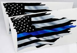 Thin Blue Line Tattered Flag Sticker 2 Pack Police Usa Vinyl Decal Car Truck 4 99 Picclick