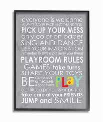 The Kids Room By Stupell Everyone Is Welcome Playroom Rules On Grey Framed Giclee Texturized Art 11 X 1 5 X 14 Walmart Com Playroom Rules Playroom Kids Wood