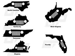 Jeep Grille State Vinyl Decals Window Stickers Etsy