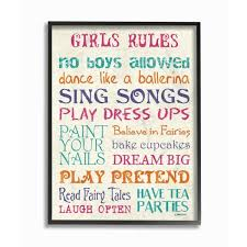 The Kids Room By Stupell 11 In X 14 In Pink Teal Orange And Purple Girls Rules By Debbie Dewitt Printed Framed Wall Art Brp 2212 Fr 11x14 The Home Depot