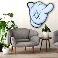 Kaws Inspired Hangloose Wall Art On Wood Modern Family Room Los Angeles By Idiotboxart