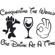 One Drink At A Time Minnie Mouse Wine Customized Wall Decal Custom Vinyl Wall Art Personalized