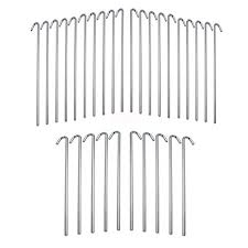 30 Piece Metal Galvanized Steel Tent Pegs Garden Stakes Fence Tarp Camping Net Tent Canopy Accessories
