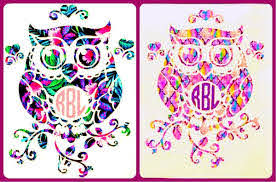 Amazon Com Owl Monogram Vinyl Decal Sticker Die Cut Free Shipping Custom Car Window Laptop Tumbler Water Bottle Bumper You Choose Size And Color Handmade