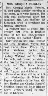 Obit for Georgia Myrtle (Harrison) Presley d 29 Feb 1960 - Newspapers.com