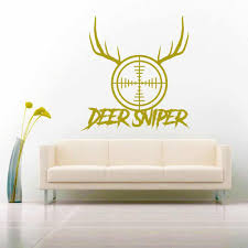 Deer Hunting Sniper Rifle Gun Scope With Antlers Vinyl Decal Sticker