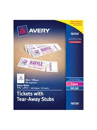 Avery Printable Tickets White 200 Pk Office Depot