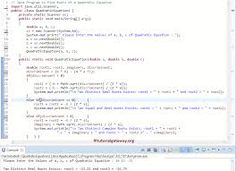 java program to find roots of a