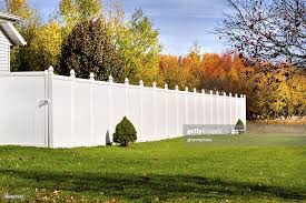 New White Vinyl Fence High Res Stock Photo Getty Images