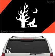 Wolf Howling Under Moon Car Sticker Decal Topchoicedecals