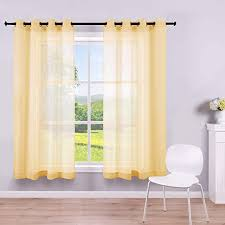 Amazon Com Yellow Sheer Curtains 45 Inch Length For Bathroom 2 Panels Grommet Drape Semi Sheer Short Curtains For Boys Bedroom Girls Kids Room Small Windows Basement Kitchen Bright Yellow W52 By L45