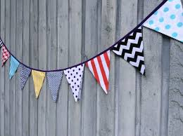 Bunting Flags Birthday Banner Party Decor Fabric Bunting Kids Room Decor Modern Geometric Prints Purple Black Aqua Yellow Red By Boobahblue Catch My Party