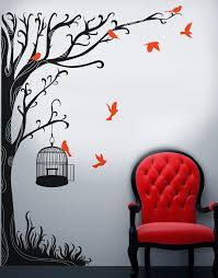 Swirly Tree With Bird Cage Wall Decal Sticker 6148 Stickerbrand