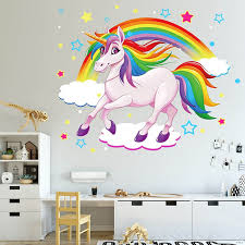 Unicorn Rainbow Wall Stickers Colorful Animals Horse Wall Decals For Kids Girls Room Diy Poster Wallpaper Home Decor Wall Stickers Aliexpress