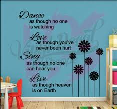 Dance Love Sing Live Wall Decal Poem Wall Decal Nursery Wall Etsy