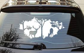 Forrest Opening Deer Trees Nature All Weather Waterproof Auto Hood Decal Bumper Sticker Bumper Stickers Hunting Decal Deer Decal