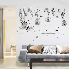 Vine Stickers Black Bird Cage Leaf Cucoloris Wall Sticker Art Decal Wall Decor Room Decoration Mural Vinyl Removable Sticker Wall Stickers Aliexpress