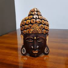 medium budha wooden head 3d wall decor