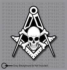 Skull And Cross Bones Square Compass Mason Masonic Freemason Decal Sti Firehouse Graphics