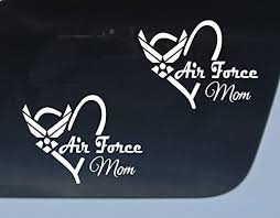 Amazon Com Get 2 Air Force Mom Vinyl Decal Military Car Auto Window Sticker Military Proud White 6 Everything Else