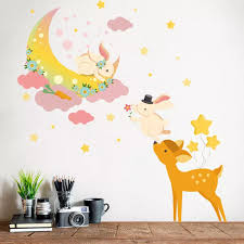 Fawn Moon Bunny Cartoon Bedroom Decorative Wall Sticker Wallpaper Children S Room Kindergarten Wall Decal For Kids Home Decor Wall Stickers Aliexpress