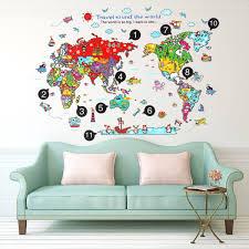 Animal World Travel Map Wall Stickers Art Decal Home Room Diy Decor For Kid Baby Walmart Com Walmart Com