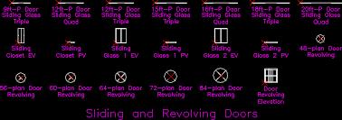 sliding and revolving doors dwg block