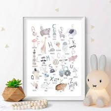 Best Deal E12d Woodland Alphabet And Number Educational Posters And Prints Nursery Wall Art Canvas Painting Pictures Kids Room Wall Decor Cicig Co