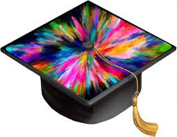 Amazon Com Rainbow Abstract Color Colors Splash Grad Cap Decal Vinyl Sticker Skin For Graduation Caps Kitchen Dining
