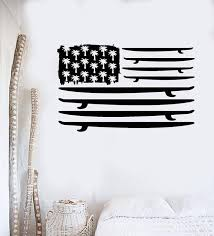 Vinyl Wall Decal Surfing Surfboard Flag Palms Ocean Surf Stickers Uniq Wallstickers4you