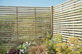 1 8m X 1 8m Pressure Treated Contemporary Slatted Fence Panel Forest Garden