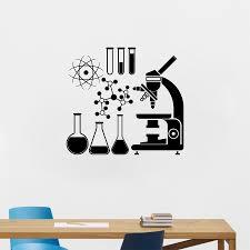 Microscope Science Scientist Chemistry Vinyl Wall Sticker School Laboratory Wall Art Mural Decals Decor Vinyl Wall Stickers Wall Stickervinyl Wall Aliexpress