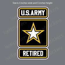 Retired Army Veteran Military Bumper Sticker Vinyl Car Truck Window Decal